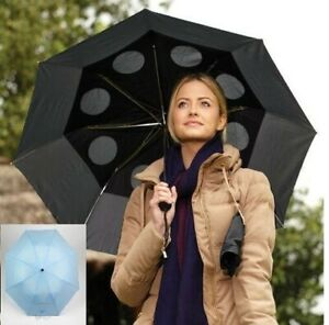 NEW Staydry Blue Umbrella Specially Vented Windproof Brolly Double Canopy