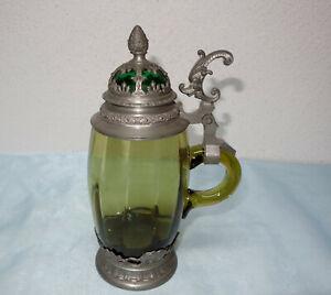 Glasbierkrug - Bierkrug mit Zinnmontierung , um 1900, Waldglas