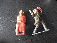 """Lot of 2 Vintage Metal Britains Man and Sitting Old Woman Figures 2"""" Tall"""