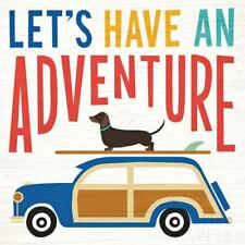 DACHSHUND SHORT SMOOTH HAIRED Retro Art Poster Print Daxi Lets Have An Adventure