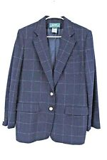 LRL Lauren Ralph Lauren 100% Wool Windowpane Plaid Two Button Blazer Navy 10