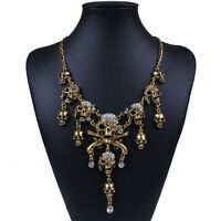 Punk Style Retro Pirate Skull Cluster Rhinestone Chunky Chian Necklace TLUS