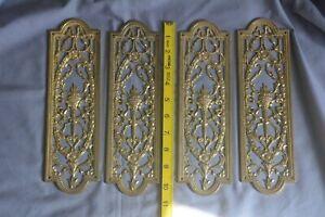 4 VINTAGE brass DOOR FINGER PLATES - Georgian style pierced flaming torch design