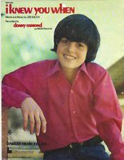 Donny Osmond I Knew You When Music Sheet 1971, Words And Music By Joe South, Mgm
