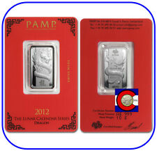 2012 Pamp Suisse Lunar Dragon 10 gram Silver Bar in Sealed Capsule with Assay