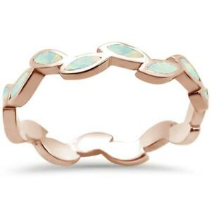 Rose Gold Plated White Opal Leaf Design .925 Sterling Silver Ring