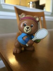 Vintage Bear Enesco 1982 Girl Tennis Player Figurine Russ Berrie 80s Toy Doll