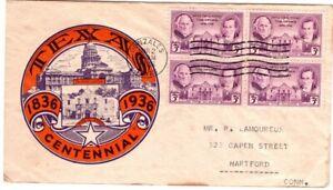 1936 Texas Alamo Centennial Gonzales - State Capital - Multi-Color Cachet