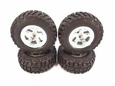 NEW TRAXXAS SLASH SET OF 2wd SILVER 12mm WHEELS WITH KUMHO VENTURE MT TIRES VXL