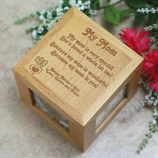 Personalized Mothers Day Photo Cube Engraved Wood Mom Gift Picture Frame Cube