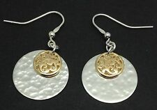Hammered two tone drop earrings, solid Sterling Silver, new, round disc, UK.