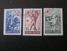 FINLAND, SCOTT # B132-B134(3), SET 1955 SEMI-POSTAL RED CROSS ISSUE USED