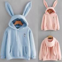 Women Jumper Sweater Hoodie Korea Japan Rabbit Bunny Sweatshirt Ears Tops Coat