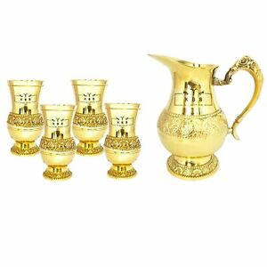 JUG and Glass American Design/Home DÉCOR/Gift/Tableware (1 jug+ 4 Glass,) Brass