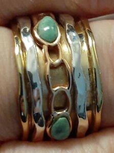 Designer Fine Mixed Metals Turquoise Three Spinner Meditation Ring 8.5