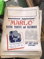 Antique 1920s Marlo The Magician Advertising Flyer Vintage Magic Brunswick Melb.