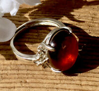 4.8g  NATURAL ALMANDINE RED GARNET CRYSTAL HEALING RING  Reiki Charged  INDIA