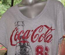 Women's Coca-Cola Gray V-Neck Short Sleeve Cotton Blend T-Shirt in Size XL 16