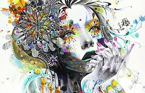 Abstract Flowers - Colourful Women Large Wall Art Poster / Canvas Picture Print