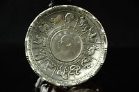 Old Tibet silver Carved zodiac statue three years coin plate Great General