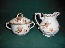 antique limoges sugar bowl & cream jug