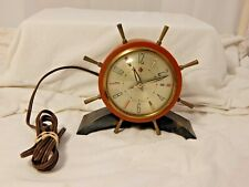 Vintage Seth Thomas Rudder Ships Wheel Alarm Clock Elec. tested and works great