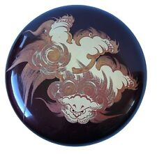 Japanese Lacquer Ware Wood Box with Lid Clouds Round Burgundy Red