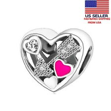 Authentic Sterling Silver 925  Love Heart Charm Bead DIY Pendant Charms Jewelry