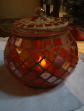 Mosaic bowl candle holder with cover burgandy/pink Christmas Specials