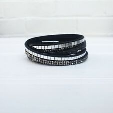 Mirrored Wrap Bracelet - Black. Diamante charm party choker.