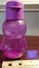 Penguin TUPPERWARE Eco Water Bottle Purple Penguin 12 oz Flip Top NEW