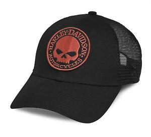 Harley Davidson New Era 9Forty Black Cap Orange Willie G, Adjustable, 99491-17VM