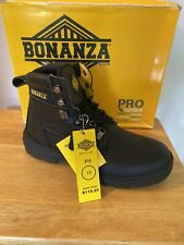 "Mens Bonanaza Boots 6"" Black Soft Toe Comfortable & Durable Size 9 1/2"