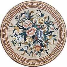 "48"" Handmade Medallion Flower Bouquet Floor Wall Art Home Decor Marble Mosaic"