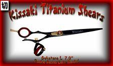 "Kissaki Left Hand Hair Scissors 7.0"" Gokatana L Black Red DOUBLE SWIVEL Shears"