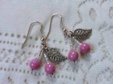 Pink Cherry Earrings Kitsch rockabilly BUNCH OF CHERRIES 50s Czech Glass Bead