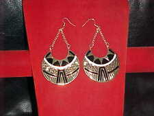 NEW BLACK Gold DAZZLING Earrings FOR Sari SKIRT DRESS Outfit BELLY DANCE Jewelry