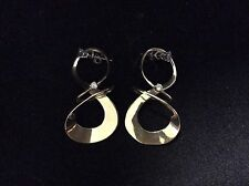 VINTAGE 14 K YELLOW GOLD DOUBLE LOOP DIAMOND EARRINGS