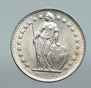 1931B SWITZERLAND HELVETIA Symbolizes SWISS Nation SILVER 1/2 Francs Coin i91280