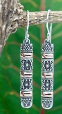 Handmade Steling Silver Bali Style Long Dangle Earrings w 18k Gold Accents