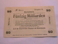 1923 Rickelshausen Germany 50 Billion Marks aXF Original Inflationary Currency