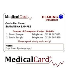 MedicalCard Medical Alert Card: Hearing Impaired - PVC Card!
