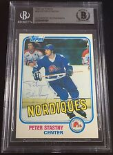 SIGNED 1981 TOPPS #39 PETER STASTNY ROOKIE RC NHL TOP 100 CARD BECKETT BAS BGS