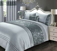 Rapport Luxury Charleston Sequin Embellished Duvet Cover Bedding Set Grey