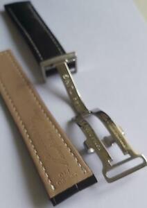Breitling 22mm Black Genuine Leather Deployment Bracelet Band Watch Clasp Buckle