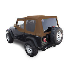 Jeep Wrangler YJ Soft Top, 88-95, Upper Doors, Tinted Windows, Spice Denim