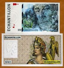 SET France, 2 French Test Notes, Echantillon, Ravel and Lady Warrior, UNC
