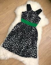 GUCCI Silk Geometric Sleeveless Dress Midi Black &White Print Green Waistband 38