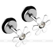 "2pc 16G Stainless Steel Crystal Flower 1/4"" Barbell Ear Cartilage Helix Earrings"