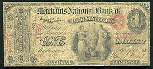 """1865 $1 """"ACE"""" THE MERCHANTS NB OF BURLINGTON, VT CH. #1197"""